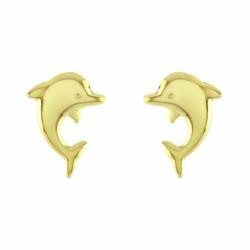 Boucles d'Oreilles Enfant Puces Dauphins OR 375/1000 Jaune