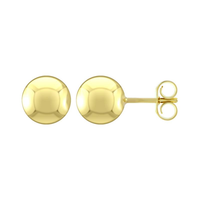 Boucles d'Oreilles Femme Puces Boules OR 375/1000 Jaune