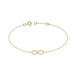 Bracelet Femme Signe Infini OR 375/1000 Jaune et Oxydes