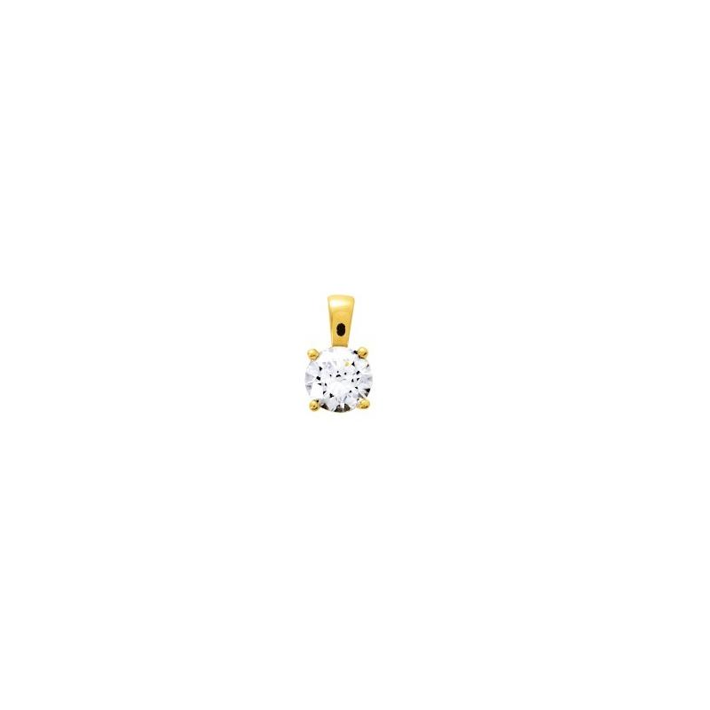 Pendentif Femme Solitaire OR 375/1000 Jaune et Oxyde