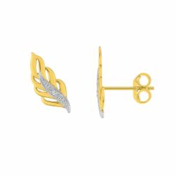 Boucles d'Oreilles Femme Puces OR 375/1000 Bicolore et Diamants