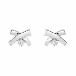 Boucles d'Oreilles Femme Puces OR 375/1000 Blanc et Diamants