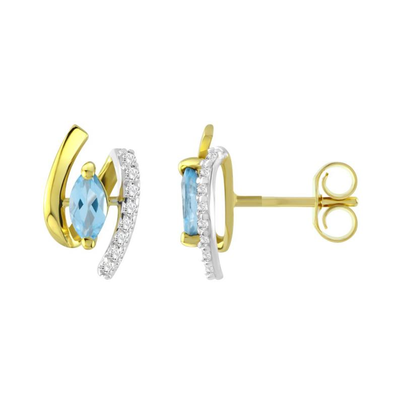 Boucles d'Oreilles Femme Puces OR 375/1000 Bicolore et Topazes