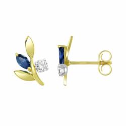 Boucles d'Oreilles Femme Puces OR 375/1000 Jaune et Saphirs
