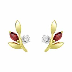 Boucles d'Oreilles Femme Puces OR 375/1000 Jaune et Rubis