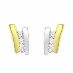 Boucles d'Oreilles Femme Puces EDORA OR 375/1000 Bicolore et Oxydes