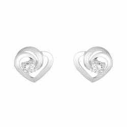 Boucles d'Oreilles Femme Puces Coeurs OR 375/1000 Blanc et Oxydes