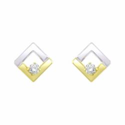 Boucles d'Oreilles Femme Puces OR 375/1000 Bicolore et Oxydes