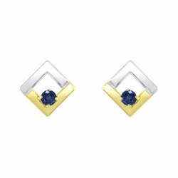 Boucles d'Oreilles Femme Puces OR 375/1000 Bicolore et Saphirs