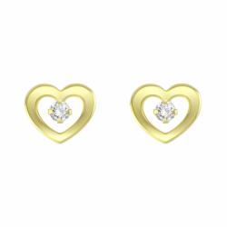 Boucles d'Oreilles Femme Puces OR 375/1000 Jaune et Oxydes