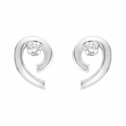 Boucles d'Oreilles Femme Puces OR 375/1000 Blanc et Oxydes