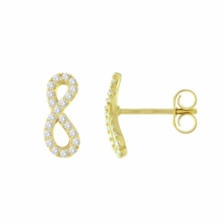 Boucles d'Oreilles Femme Puces Infini OR 375/1000 Jaune et Oxydes