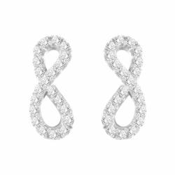 Boucles d'Oreilles Femme Puces Infini OR 375/1000 Blanc et Oxydes