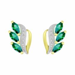 Boucles d'Oreilles Femme Puces OR 375/1000 Bicolore et Emeraudes