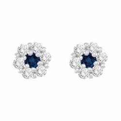 Boucles d'Oreilles Femme Puces OR 375/1000 Blanc et Saphir