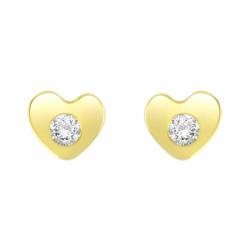 Boucles d'Oreilles Femme Puces Coeurs OR 375/1000 Jaune et Oxydes