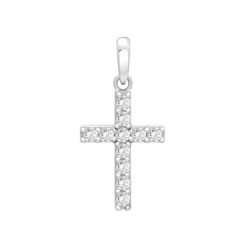 Pendentif Femme Croix OR 375/1000 Blanc et Oxydes