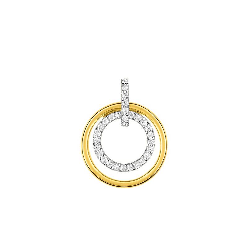Pendentif Femme Cercles OR 375/1000 Bicolore et Oxydes