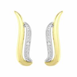 Boucles d'Oreilles Femme Puces OR 750/1000 Bicolore et Diamants