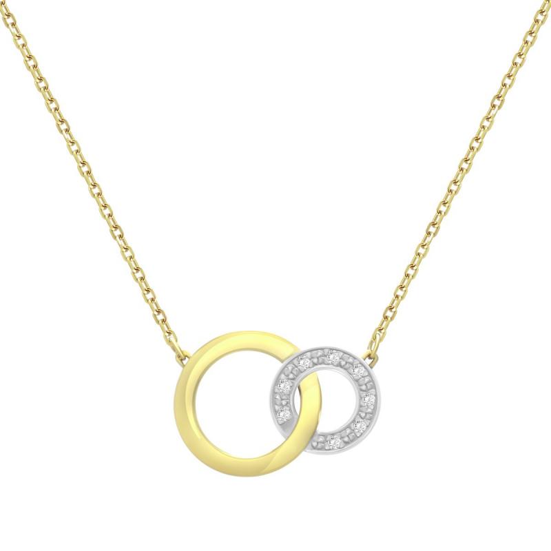 Collier Femme Cercles Entrelacés OR 750/1000 Bicolore et Diamants