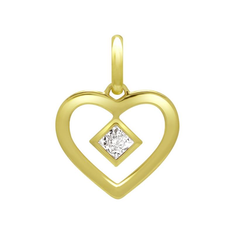 Pendentif Femme Coeur OR 750/1000 Jaune et Diamant