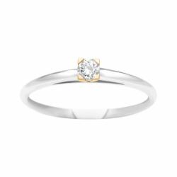 Bague Femme Solitaire OR 750/1000 Bicolore et Diamant