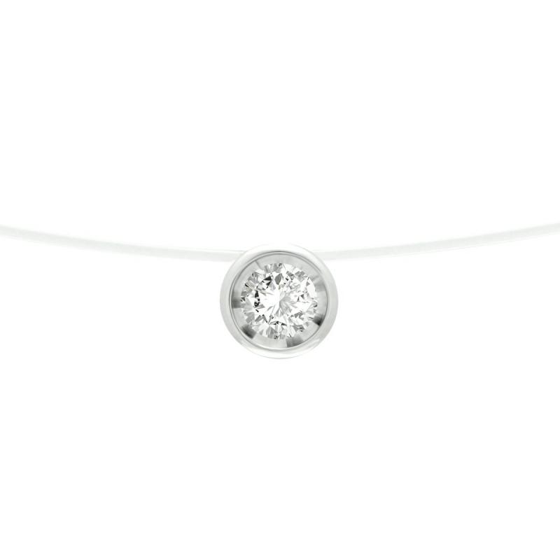 Collier Femme OR 750/1000 Blanc et Diamant