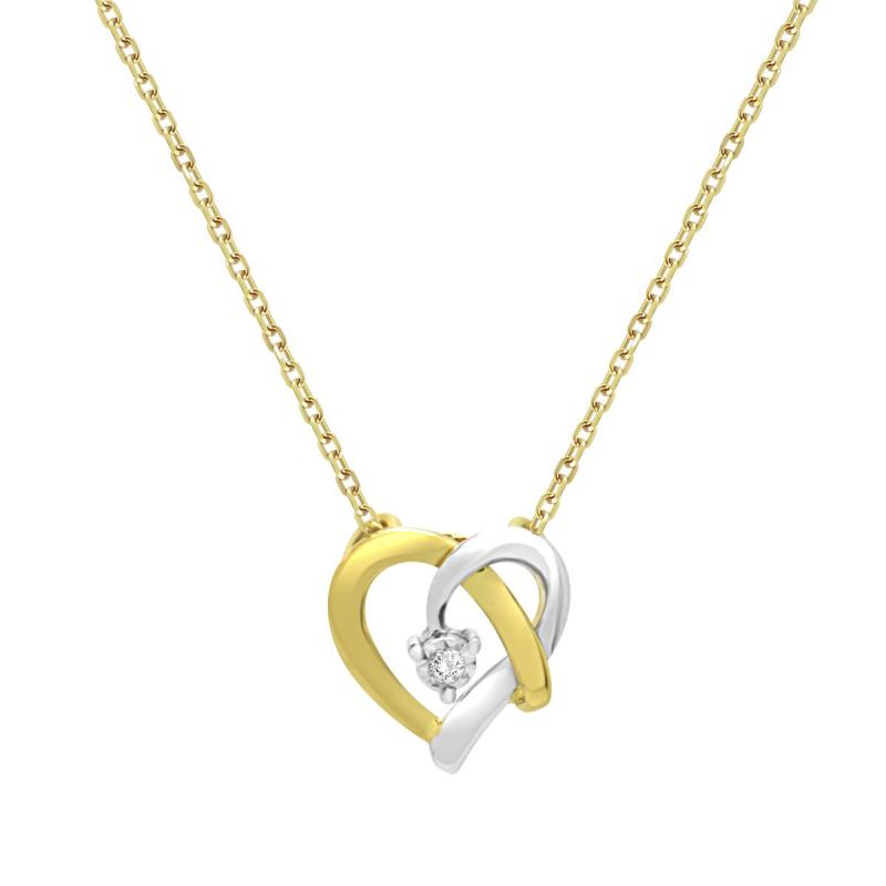 Collier Femme Solitaire Coeur OR 750/1000 Bicolore et Diamant