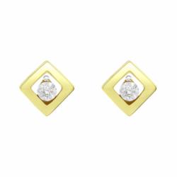 Boucles d'Oreilles Femme Puces Solitaire OR 750/1000 Jaune et Diamants