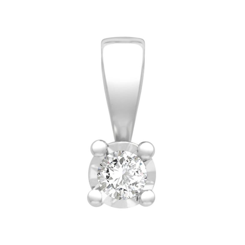 Pendentif Femme Solitaire OR 750/1000 Blanc et Diamant