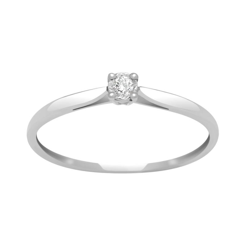Bague Femme Solitaire OR 750/1000 Blanc et Diamant