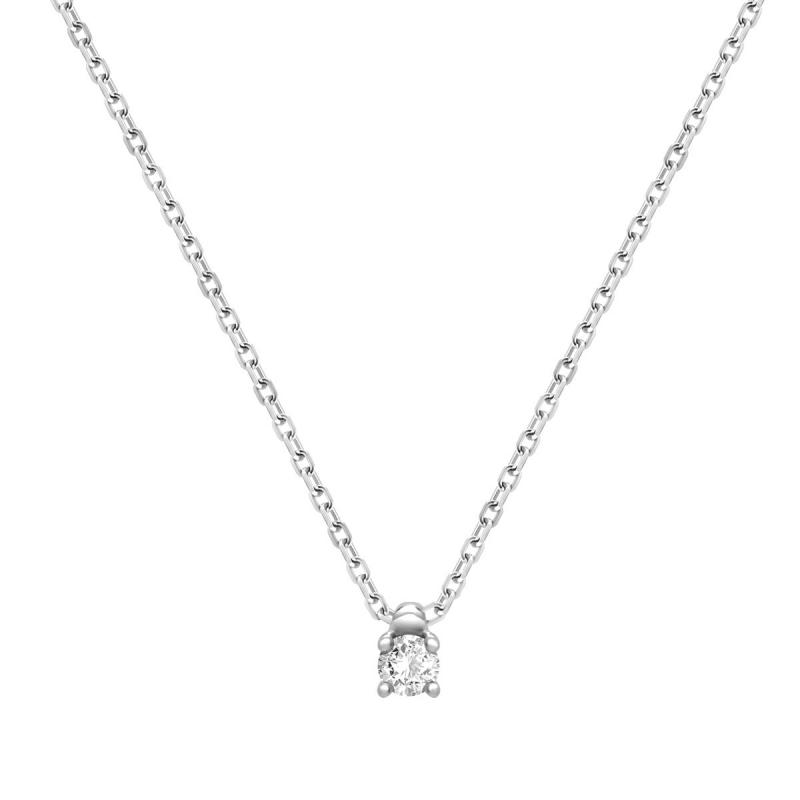Collier Femme Solitaire OR 750/1000 Blanc et Diamant