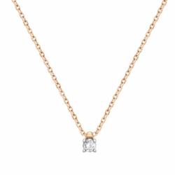 Collier Femme Solitaire OR 750/1000 Jaune et Diamant