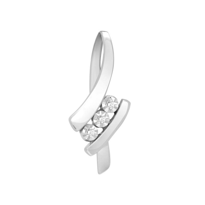 Pendentif Femme Trilogy OR 750/1000 Blanc et Diamants