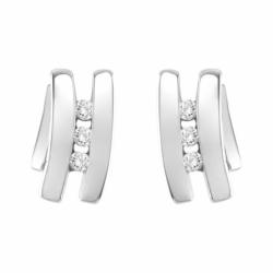 Boucles d'Oreilles Femme Puces trilogie OR 750/1000 Blanc et Diamants