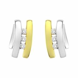 Boucles d'Oreilles Femme Puces trilogie OR 750/1000 Bicolore et Diamants