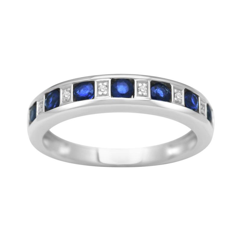 Bague Femme Alliance OR 750/1000 Saphirs et Diamants