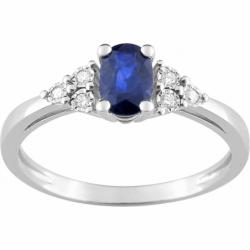 Bague Femme Solitaire OR 750/1000 Saphir et Diamants