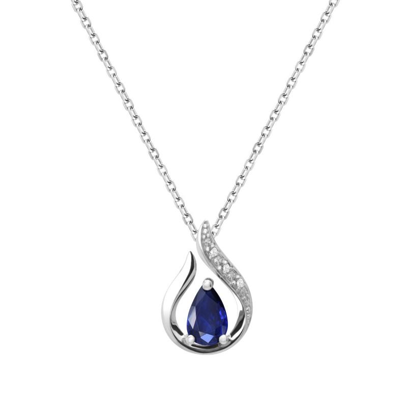 Collier Femme Goutte OR 750/1000 Saphir et Diamants