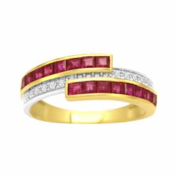 Bague Femme Rails OR 750/1000 Rubis et Diamants
