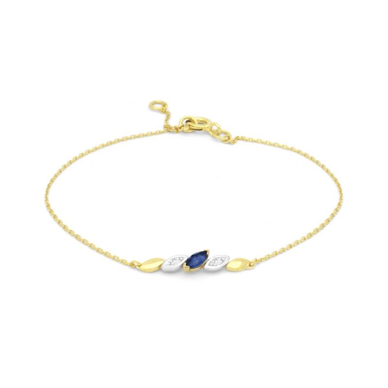 Bracelet Femme OR 750/1000 Diamants et Saphir