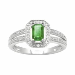 Bague Femme Solitaire Accompagné OR 750/1000 Diamants et Emeraude