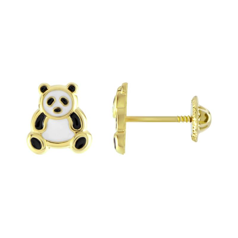 Boucles d'Oreilles Enfant Puces Pandas OR 750/1000 Jaune