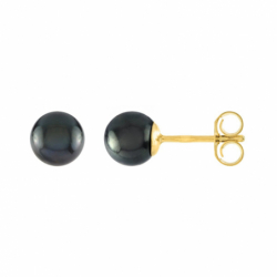 Boucles d'Oreilles Puces OR 750/1000 Jaune et Perles