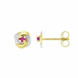 Boucles d'Oreilles Femme Puces OR 750/1000 Bicolore et Rubis