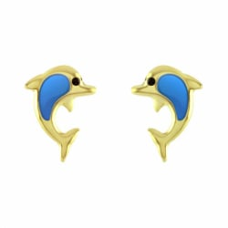 Boucles d'Oreilles Enfant Puces Dauphins OR 750/1000 Jaune