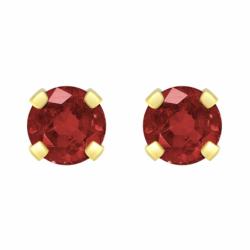 Boucles d'Oreilles Femme Puces OR 750/1000 Jaune et Rubis