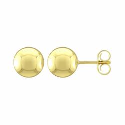 Boucles d'Oreilles Femme Puces Boules OR 750/1000 Jaune