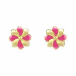Boucles d'Oreilles Femme Puces Fleurs OR 750/1000 Jaune