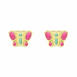 Boucles d'Oreilles Enfant Puces Papillons OR 750/1000 Jaune